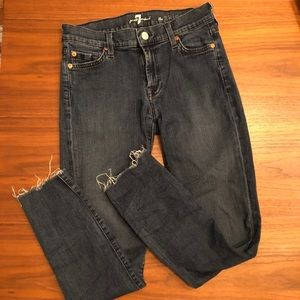 7FAM Medium wash raw hem skinny jeans